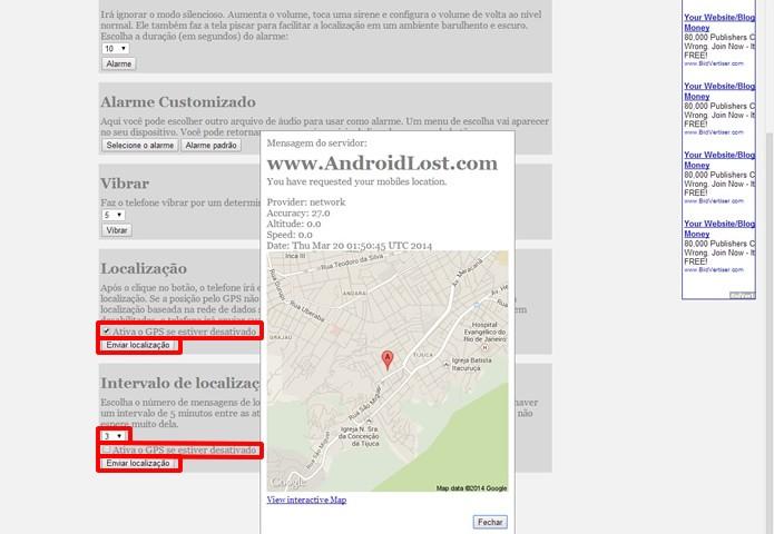 Acione a transmissão do sinal de GPS do aparelho e visualize a sua localização através de Pop-ups no navegador (Foto: Reprodução/Daniel Ribeiro)