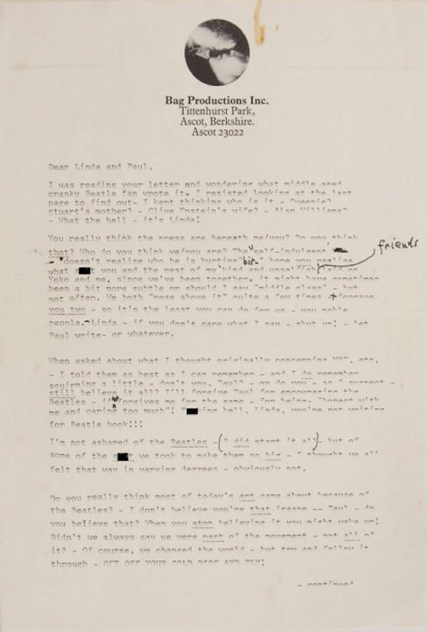 Uma página da carta de John Lennon e Paul McCartney (Foto: Reprodução)