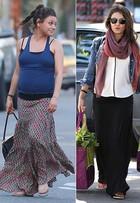 Confortável e elegante: veja o estilo de Mila Kunis durante a gravidez