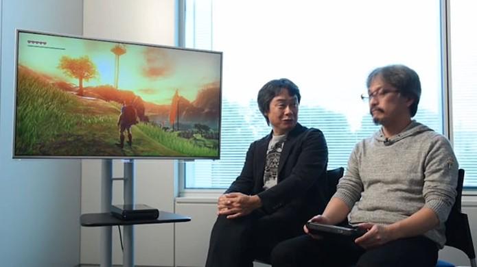 The Legend of Zelda para Wii U é demonstrado por Shigeru Miyamoto (esquerda) e Eiji Aonuma (direita) (Foto: Gematsu)