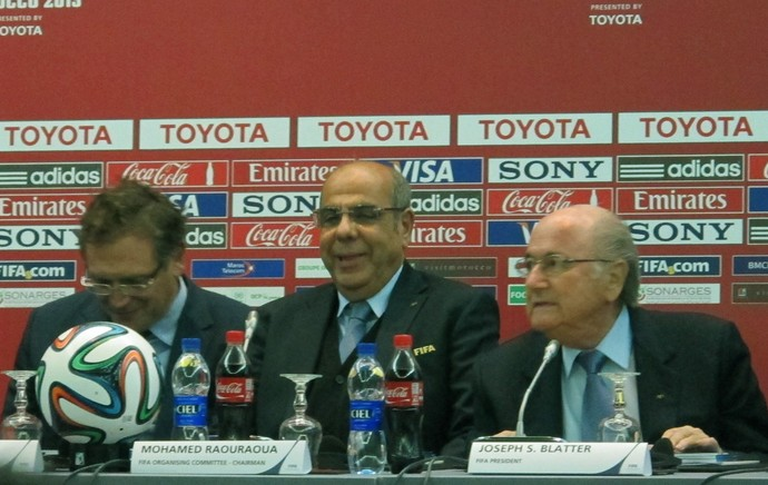 Valcke e Blatter com Raouraoua do comitê local. (Foto: Alexandre Alliatti)