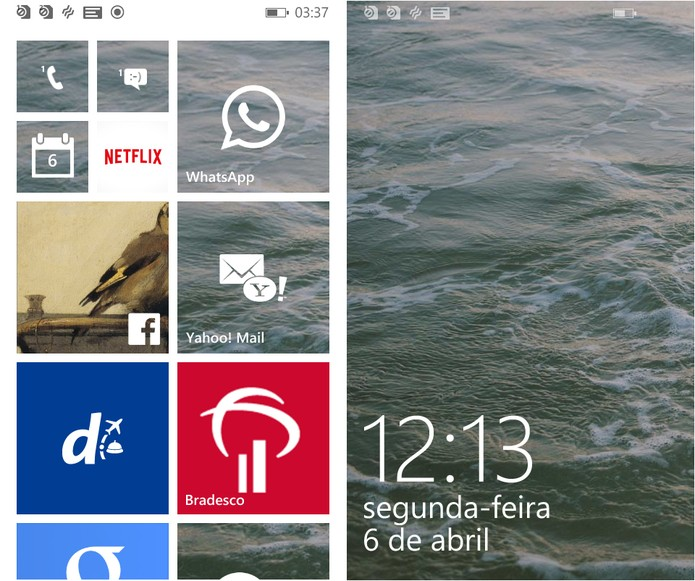 O sistema do Lumia 435 é o Windows Phone 8.1, que tem interface bonita e intuitiva  (Foto: Reprodução/Caio Bersot)
