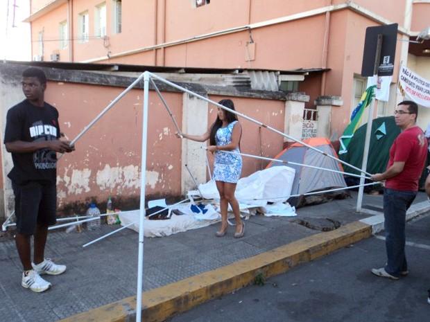 retirada dos manifestantes em Formiga MG (Foto: Gleiton Arantes/Últimas Notícias)