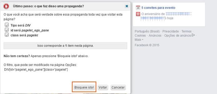 Confirme a ação de bloqueio do AdBlock no Facebook (Foto: Reprodução/Barbara Mannara)