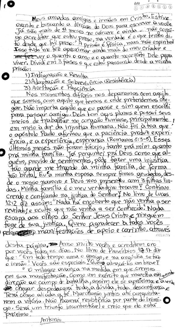 Em carta, Antônio Bosco de Assis, 44, defende sua inocência. Ele foi condenado a 13 anos e 4 meses por estupro de três crianças do colégio Mackenzie de Barueri, Grande São Paulo (Foto: Reprodução/Arquivo Pessoal)