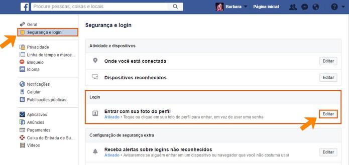 Encontre a opção de login por foto de perfil no Facebook (Foto: Reprodução/Barbara Mannara)