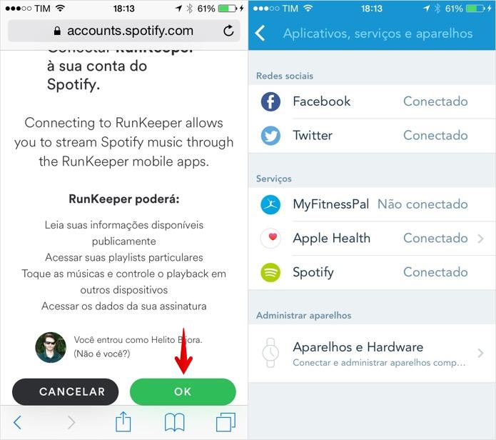 Conectando o Spotify ao RunKeeper (Foto: Reprodução/Helito Bijora)