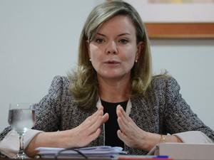 Ministra Gleisi Hoffman durante café da manhã com jornalistas (Foto: Antonio Cruz / Agência Brasil)