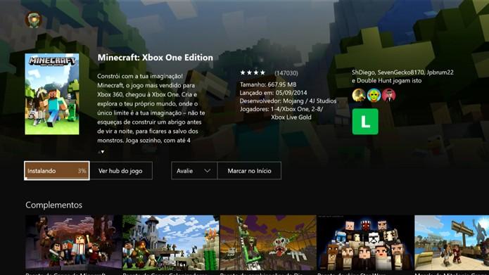 Aguarde o download do Minecraft (Foto: Reprodução/Murilo Molina)