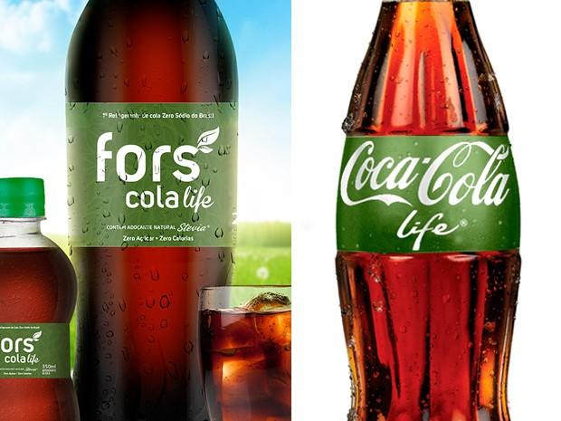 Coca-Cola acusa fábrica de Franca (SP) de plágio em rótulo de bebida (Foto: Divulgação/Fors Cola e Divulgação/Coca-Cola Company)