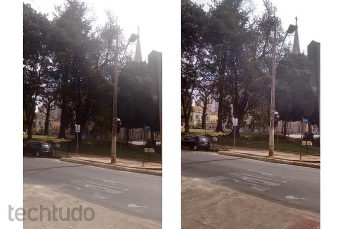 Plano aberto fotografado sem HDR, à esquerda, e com HDR, à direita (Foto: Raquel Freire/TechTudo)