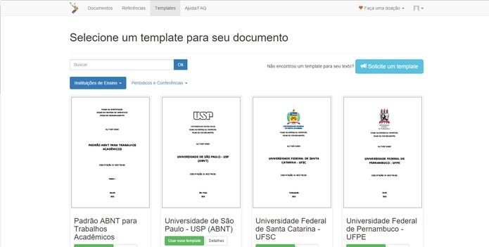 FastFormat oferece templates gratuitos para servir de modelo na formatação do texto (Foto: Reprodução/Barbara Mannara)