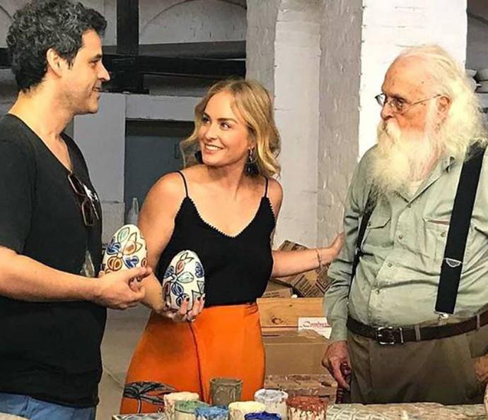 Bruno Garcia não escondeu a admiração ao encontrar com o mestre Francisco Brennand (Foto: Arquivo Pessoal)