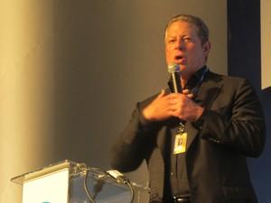 O ex-vice-presidente dos EUA Al Gore fala nesta terça-feira (18) em São Paulo. (Foto: Germano Assad/G1)