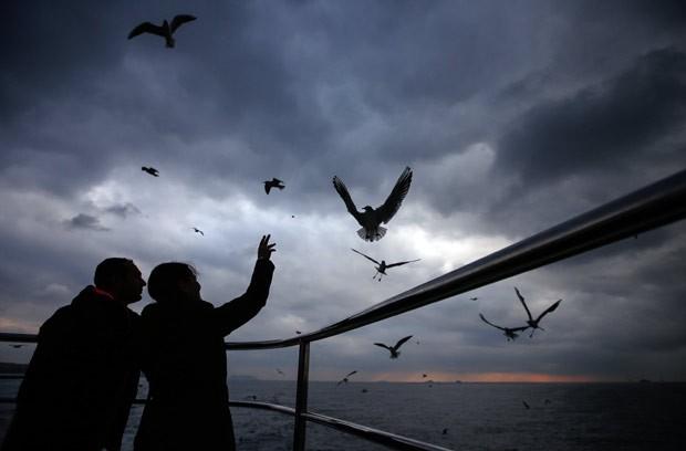 Casal tenta alimentar pombos em Bosporus, em Istambul, na Turquia (Foto: Emrah Gurel/AP)