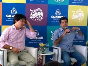 Prefeito falou sobre atrações em coletiva de imprensa (Foto: Ruan Melo / G1)