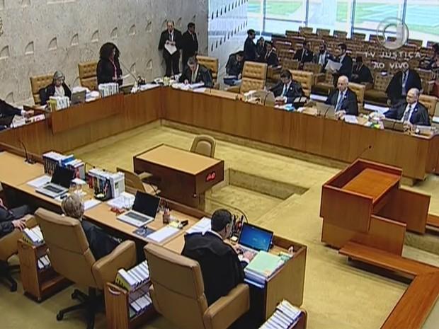 STF abre sessão que analisa veto a réu na Presidência (Foto: Reprodução/TV Justiça)