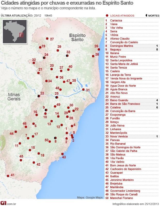 Cidades atingidas por chuvas e enxurradas no Espírito Santo (Foto: Arte/ G1)