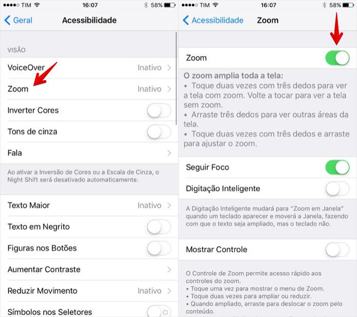 Ativando o zoom da tela no iPhone (Foto: Reprodução/Helito Bijora)