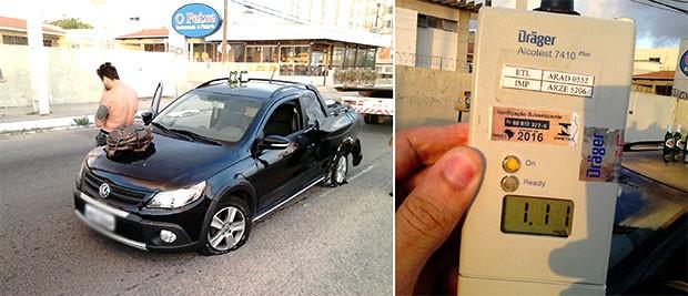 Empresário foi preso em blitz realizada na Av. Engenheiro Roberto Freire, Zona Sul de Natal. Teste de bafômetro acusou uso excessivo de bebida alcoólica   (Foto: Capitão Styvenson Valentim/PM)