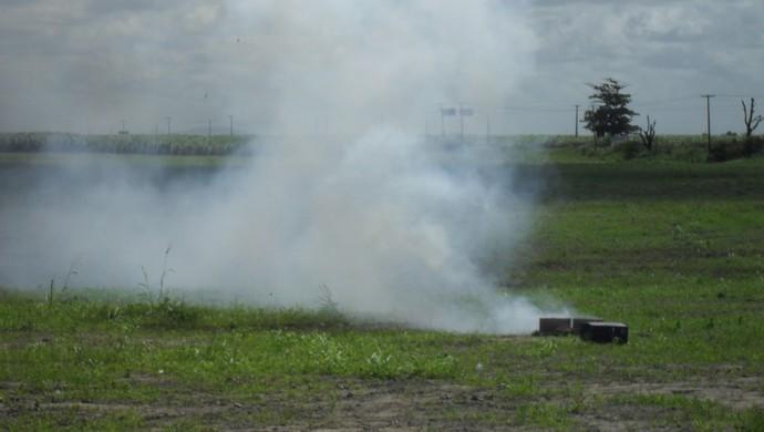 Início do Ninho do Galo teve direito à queima de fogos (Foto: Denison Roma / Globoesporte.com)