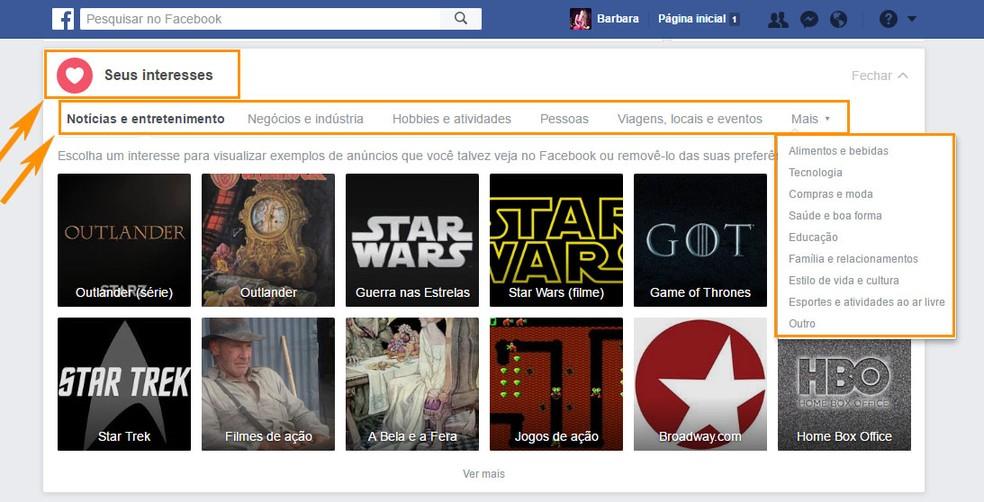 Área com seus interesses é identificada com ações no perfil do Facebook (Foto: Foto: Reprodução/Barbara Mannara)