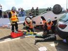 Bombeiros do AP e Guiana Francesa simulam acidente na ponte binacional