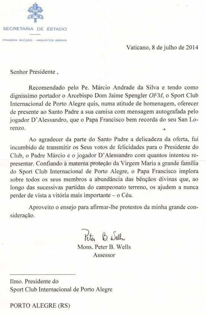 papa carta inter (Foto: Divulgação)