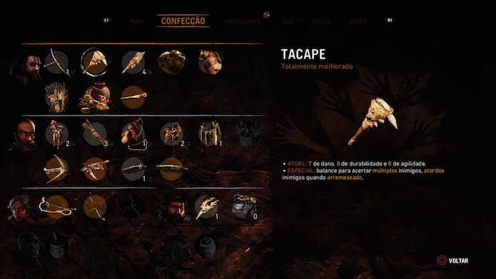 Far Cry Primal: melhore as suas armas por meio da aba  Confecção (Foto: Reprodução/Victor Teixeira)