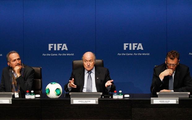 Joseph Blatter Aldo Rabello Jerome Valcke copa do mundo 2014 (Foto: Reuters)