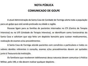 Nota divulgada à imprensa alerta sobre golpe (Foto: Santa Casa de Formiga/Divulgação)