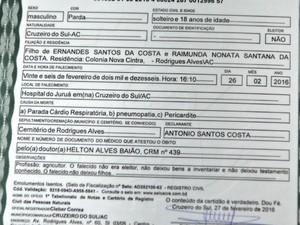 A declaração de óbito aponta morte por parada cardiorrespiratória, pericardite e pneumonia (Foto: Adelcimar Carvalho/G1)
