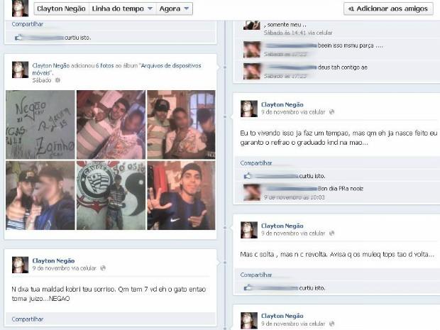 Preso postou fotos da dentro da cela em rede social. (Foto: Reprodução)