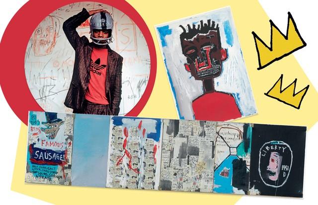 Em sentido horário: o artista clicado por edo Bertoglio, em 1981; e as obras Self- -Portrait (1984) e A Linguiça do Irmão (1983) (Foto: © Edo Bertoglio, Cortesia De Maripol, © The Estate Of Jean-Michel Basquiat/ Licenciado Por Artestar e Divulgação)