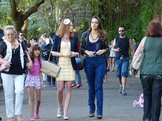 Marina Ruy Barbosa e Fernanda Machado gravaram conversa tensa de Nicole e Leila (Foto: Amor à Vida/TV Globo)