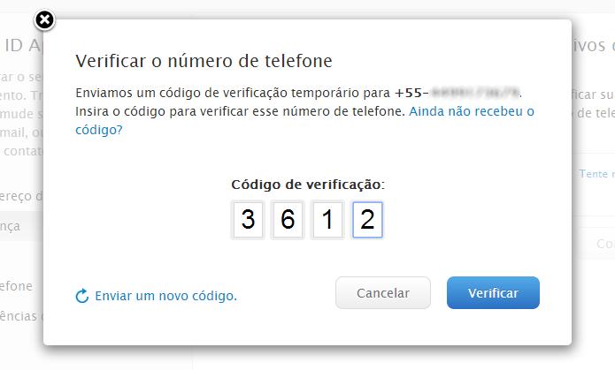 Confirme o código recebido por SMS (Foto: Reprodução/Helito Bijora)