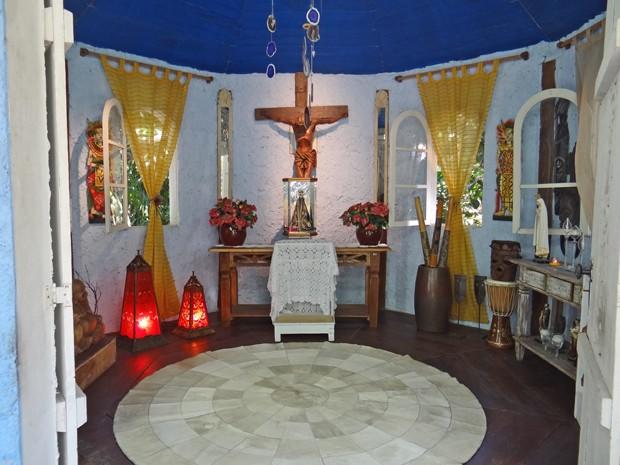 Capela do Mais Você tem uma imagem de Nossa Senhora Aparecida (Foto: Mais Você / TV Globo)
