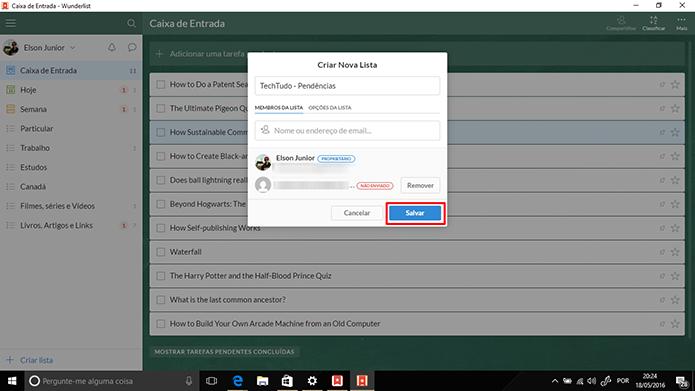 Wunderlist permite que usuário adicione pessoas às listas antes de salvar (Foto: Reprodução/Elson de Souza)