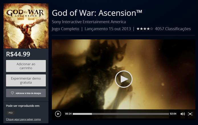 Página de God of War Ascension na PS Store (Foto: Reprodução/André Mello)