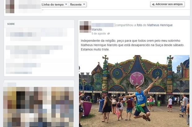 Parentes e amigos compartilham foto de Matheus nas redes sociais (Foto: Reprodução)