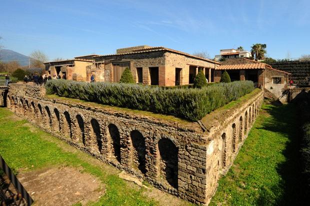 Vista externa da Vila dos Mistérios, casa luxuosa de Pompeia, na Itália (Foto: Mario Laporta/AFP)