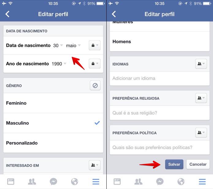 Atualizando a data de aniversário no Facebook para iOS (Foto: Reprodução/Helito Bijora)