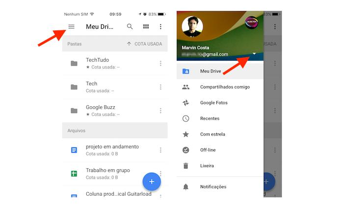 Acessando a página de opções para contas do Google Drive no iPhone (Foto: Reprodução/Marvin Costa)