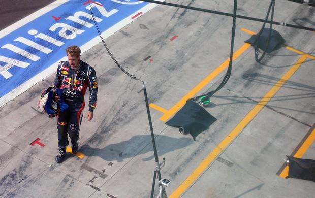 Com problemas no motor, Sebastian Vettel abandonou GP da Itália, em Monza (Foto: Getty Images)
