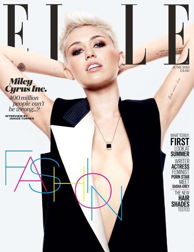 Miley Cyrus na capa da revista Elle (Foto: Reprodução)