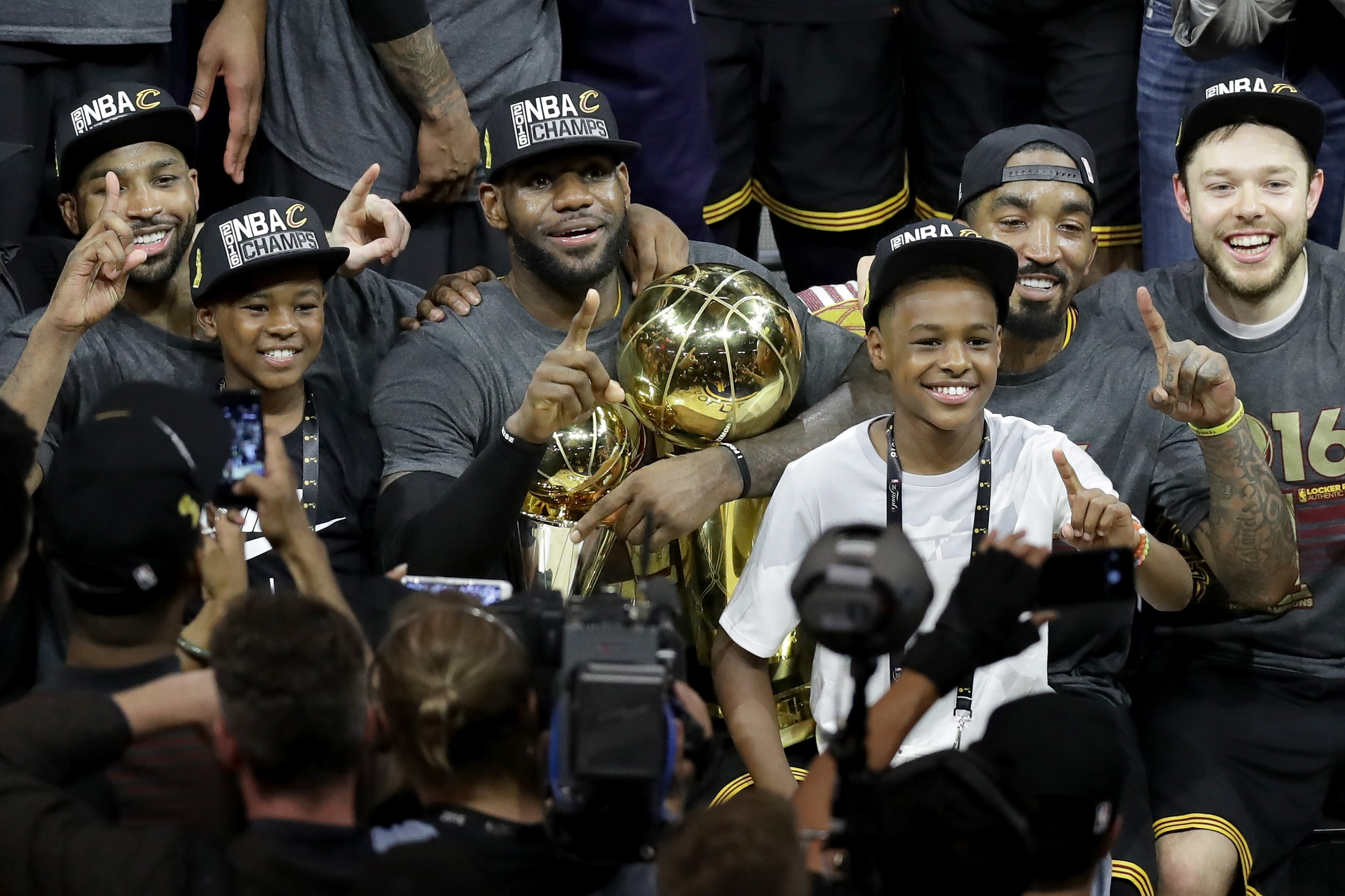 Lebron James Jr. e Bryce James - 12 e 10 anos  - Filhos do jogador de basquete Lebron James (Foto: Getty Images)