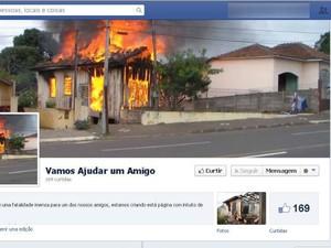 Página foi criada depois que jovem perdeu casa em incêndio (Foto: Reprodução/)