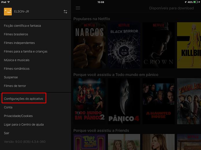 Abra configurações do Netflix para escolher resolução de download (Foto: Reprodução/Elson de Souza)