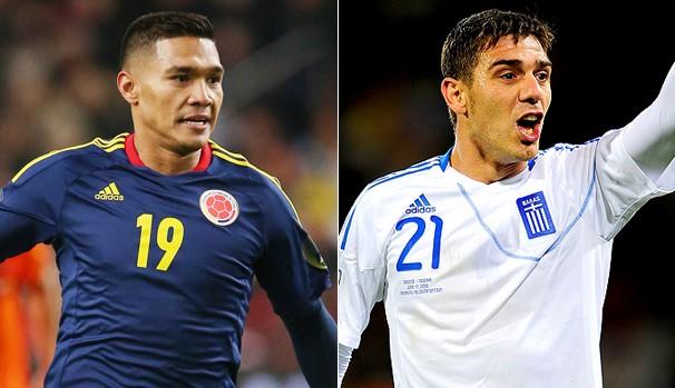 Colômbia e Grécia (Foto: Reprodução Globo Esporte)