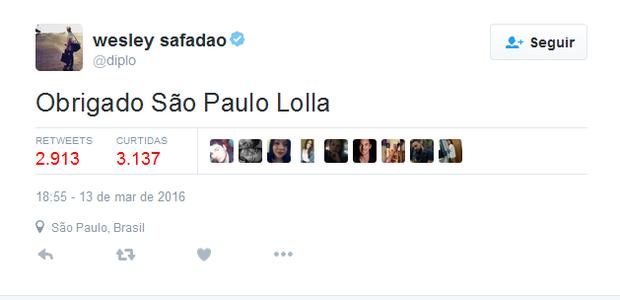 DJ Diplo agradece ao público de São Paulo pelo sucesso no festival (Foto: Reprodução / Twitter)